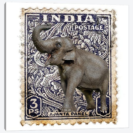 Elephant With India Stamp Canvas Print #FAU90} by Eric Fausnacht Canvas Wall Art