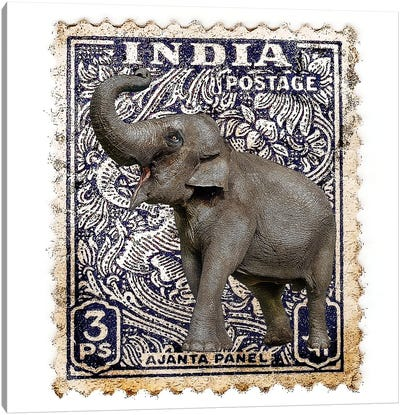 Elephant With India Stamp Canvas Art Print