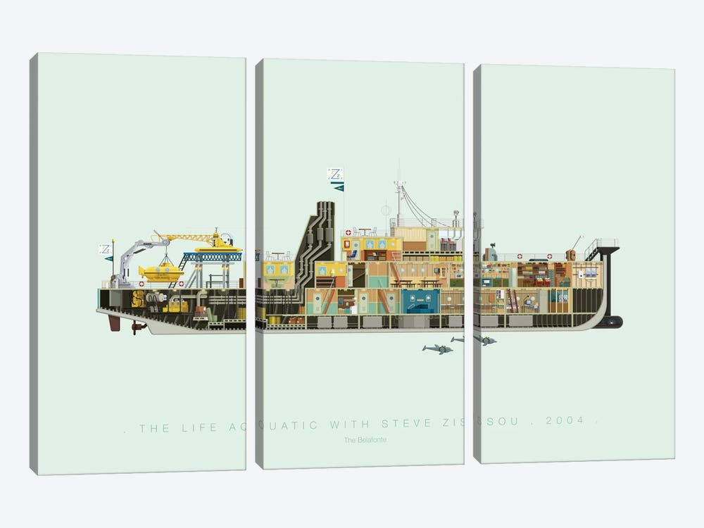 The Life Aquatic With Steve Zissou by Fred Birchal 3-piece Canvas Wall Art