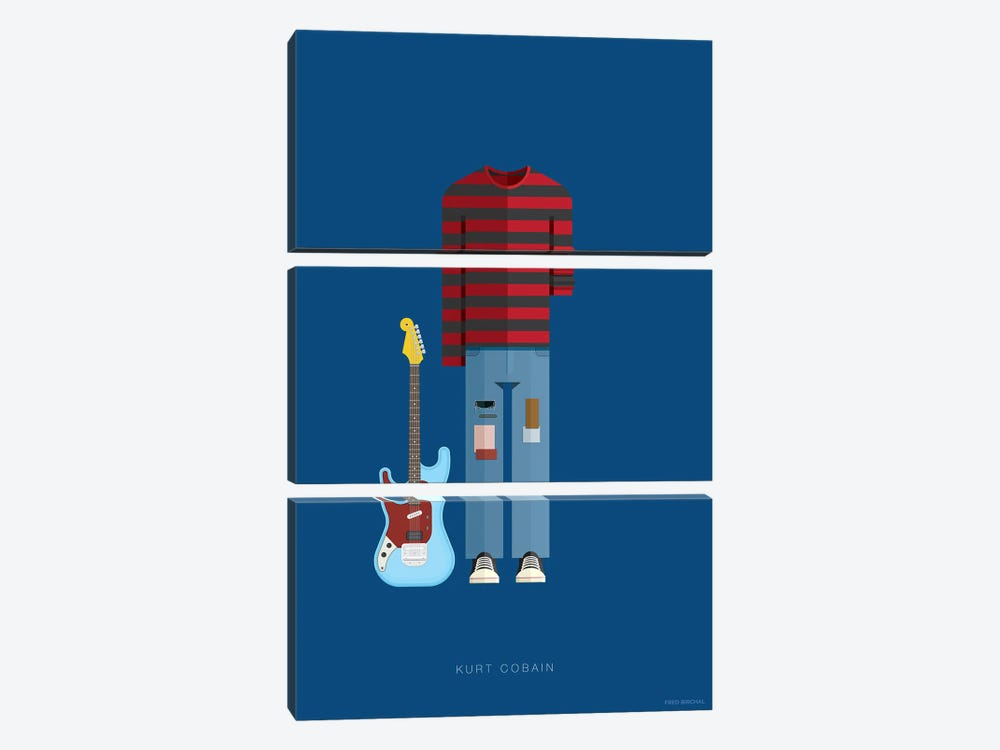 Kurt Cobain by Fred Birchal 3-piece Art Print