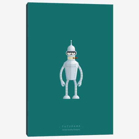 Futurama (Bender Bending Rodriguez) Canvas Print #FBI143} by Fred Birchal Art Print