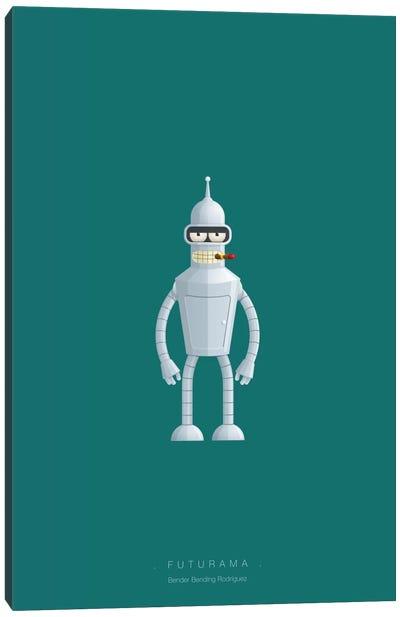 Famous Robots Series: Futurama (Bender Bending Rodriguez) Canvas Print #FBI143