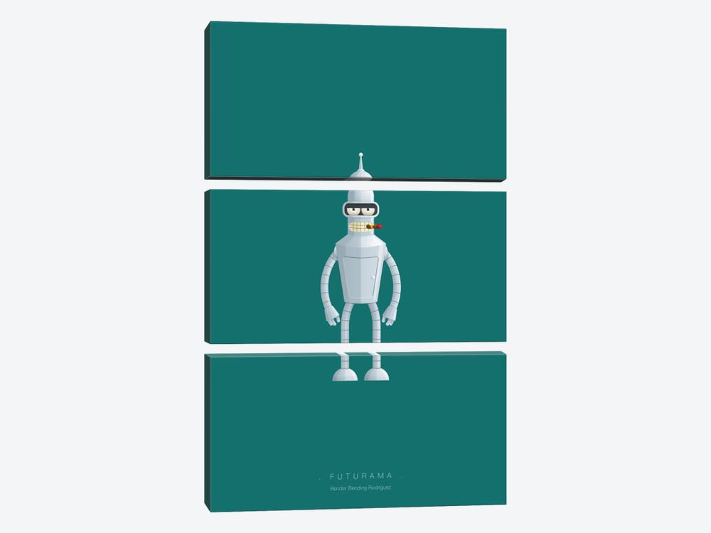 Futurama (Bender Bending Rodriguez) by Fred Birchal 3-piece Canvas Print