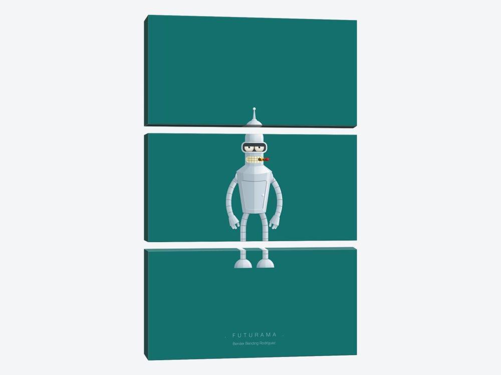 Futurama (Bender Bending Rodriguez) by Fred Birchal 3-piece Canvas Print