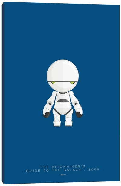 Famous Robots Series: The Hitchhiker's Guide To The Galaxy (Marvin) Canvas Print #FBI145