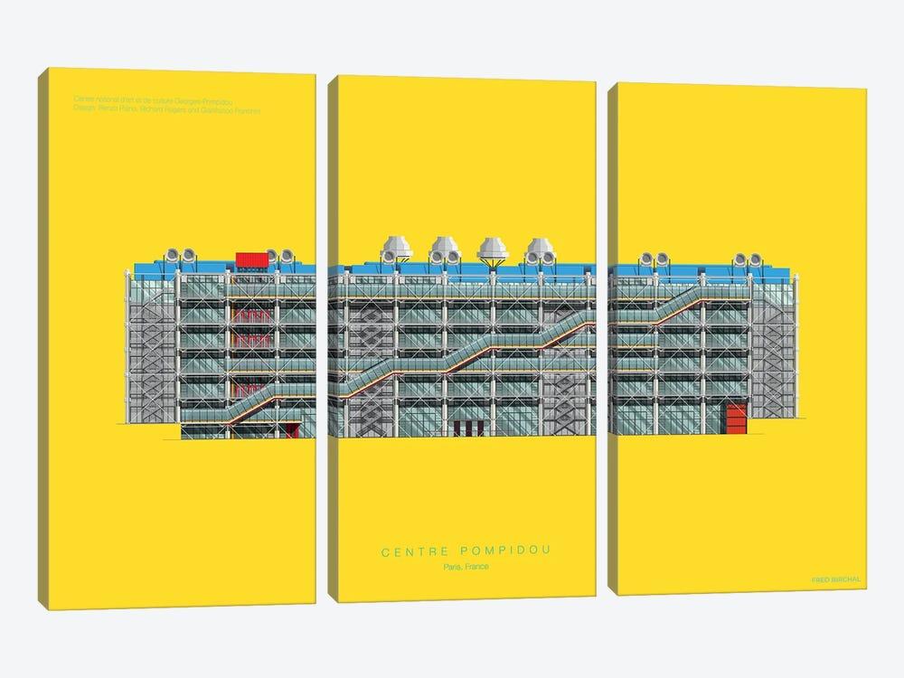 Centre Pompidou by Fred Birchal 3-piece Canvas Artwork