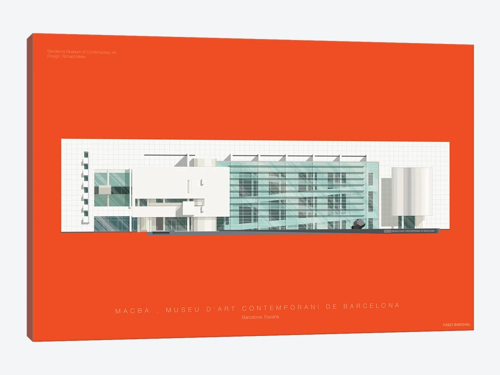 Museu d'Art Contemporani de Barcelona (MACBA) by Fred Birchal 1-piece Canvas Wall Art
