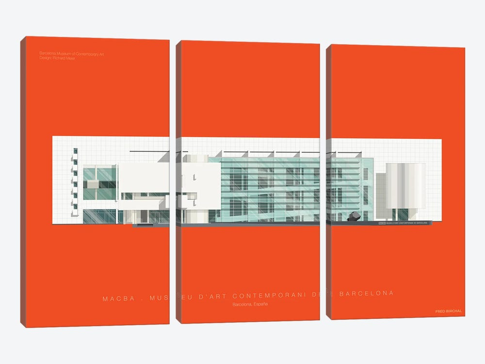 Museu d'Art Contemporani de Barcelona (MACBA) by Fred Birchal 3-piece Canvas Art