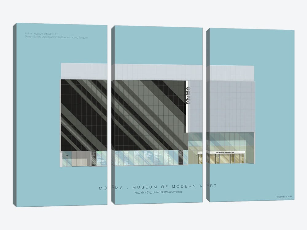 Museum Of Modern Art by Fred Birchal 3-piece Canvas Print