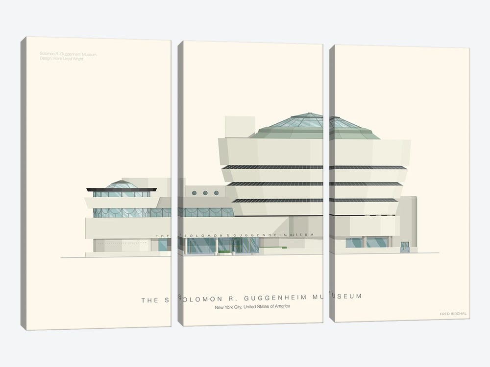 The Solomon R. Guggenheim Museum by Fred Birchal 3-piece Canvas Wall Art