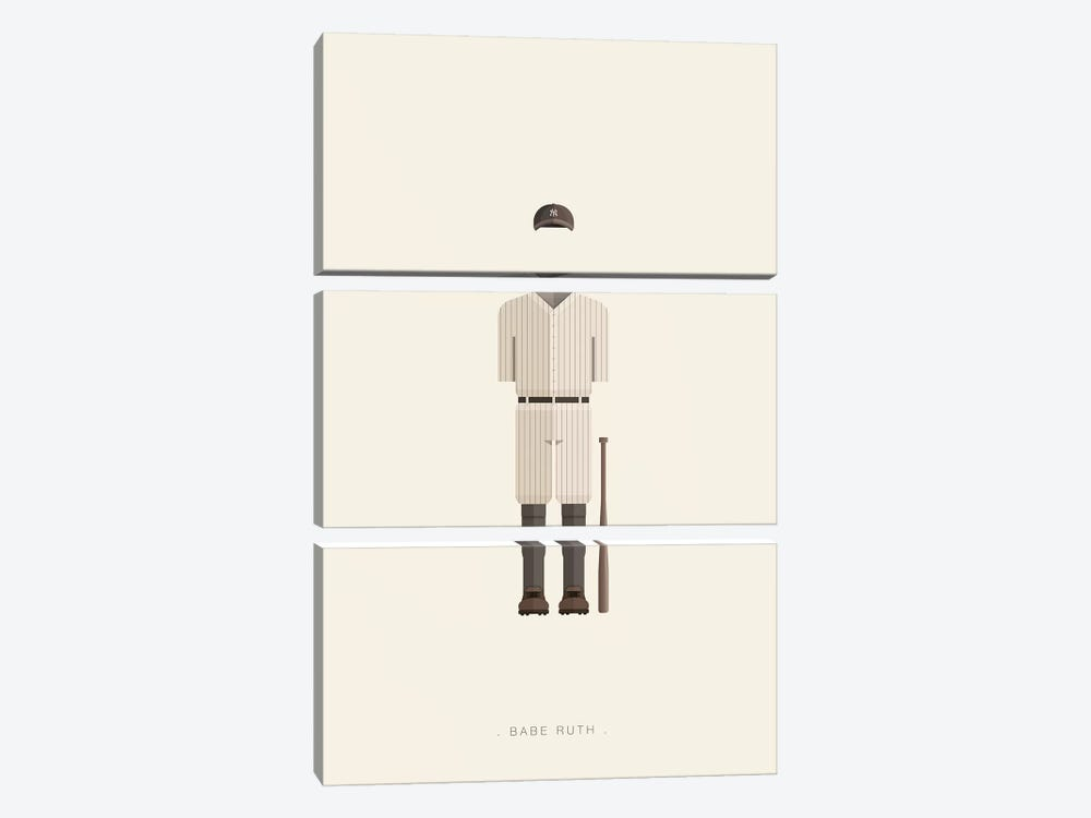 Babe Ruth by Fred Birchal 3-piece Canvas Print