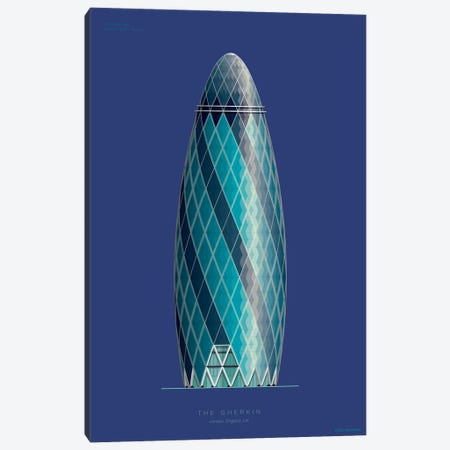 30 St Mary Axe (The Gherkin) London, England Canvas Print #FBI218} by Fred Birchal Canvas Art Print