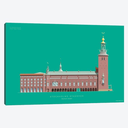 The Stockholm City Hall Stockholm, Sweden 3-Piece Canvas #FBI233} by Fred Birchal Canvas Print