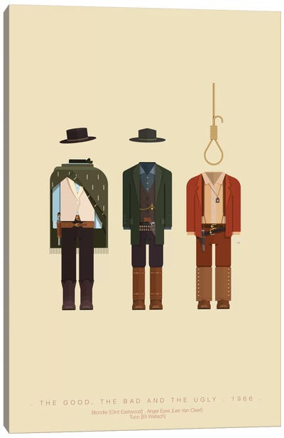 Famous Hollywood Costumes Series: The Good, The Bad And The Ugly Canvas Print #FBI75