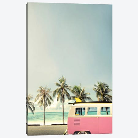 Surf Bus Pink Canvas Print #FBK12} by Design Fabrikken Canvas Wall Art