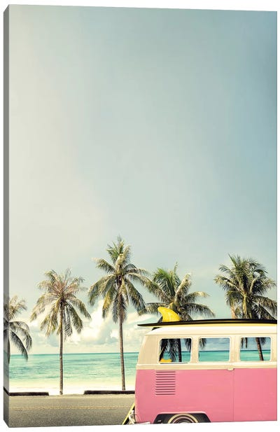 Surf Bus Pink Canvas Art Print