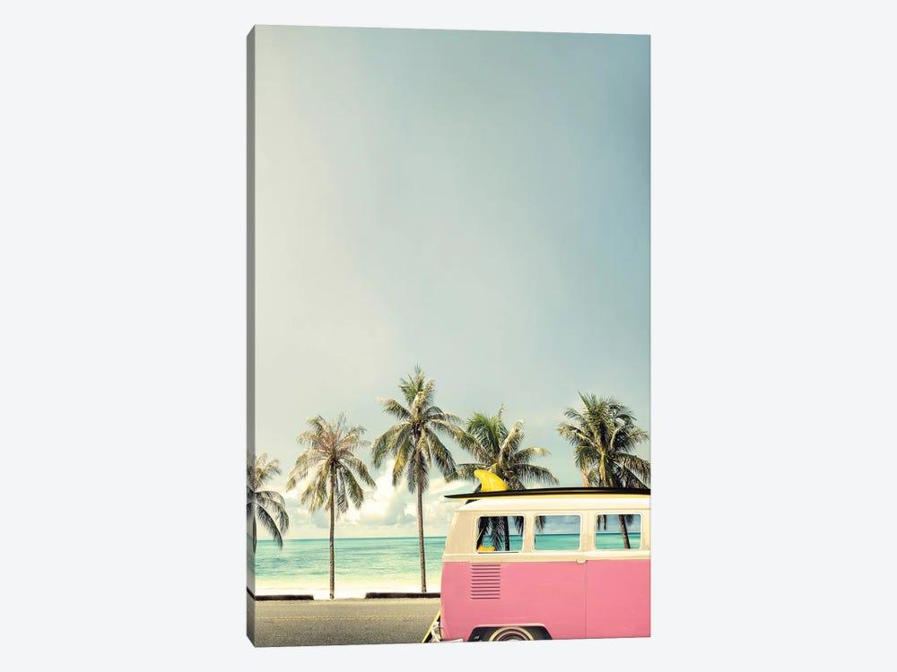 Surf Bus Pink by Design Fabrikken 1-piece Canvas Artwork