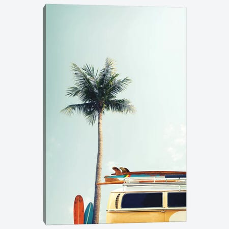 Surf Bus Yellow Canvas Print #FBK13} by Design Fabrikken Canvas Wall Art