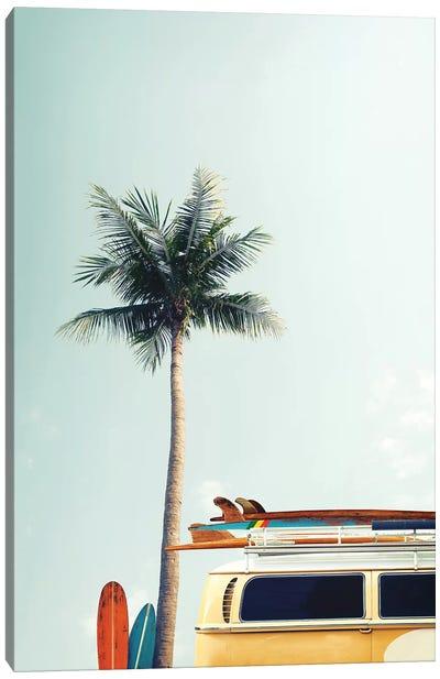 Surf Bus Yellow Canvas Art Print