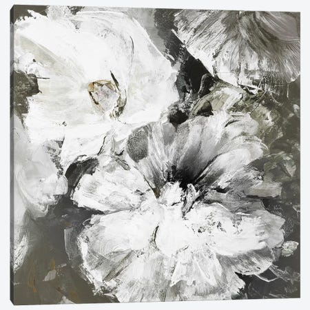 White and Gray Flowers Canvas Print #FBK152} by Design Fabrikken Art Print