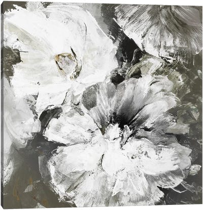 White and Gray Flowers Canvas Art Print