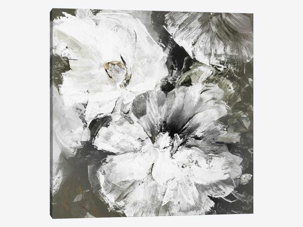White and Gray Flowers by Design Fabrikken 1-piece Canvas Art Print