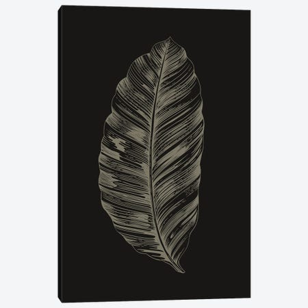 Black Leaf Canvas Print #FBK207} by Design Fabrikken Canvas Wall Art