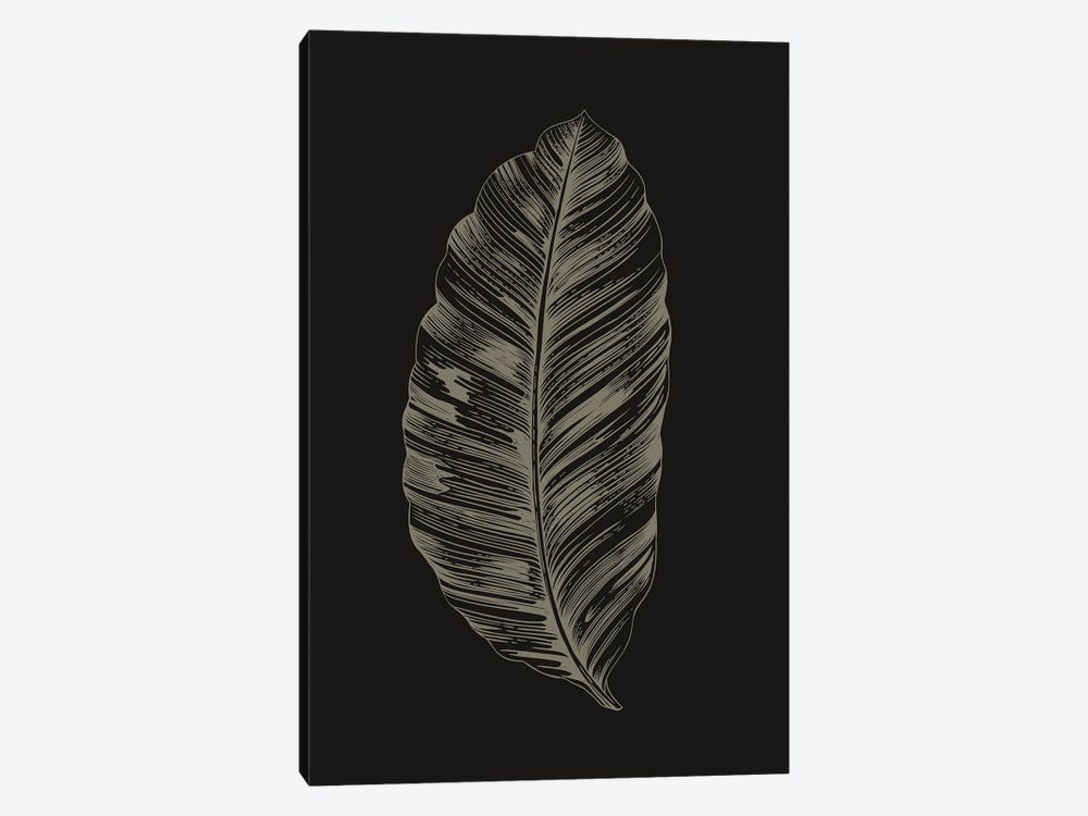 Black Leaf by Design Fabrikken 1-piece Canvas Print