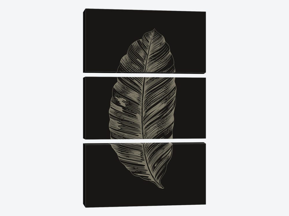 Black Leaf by Design Fabrikken 3-piece Canvas Art Print