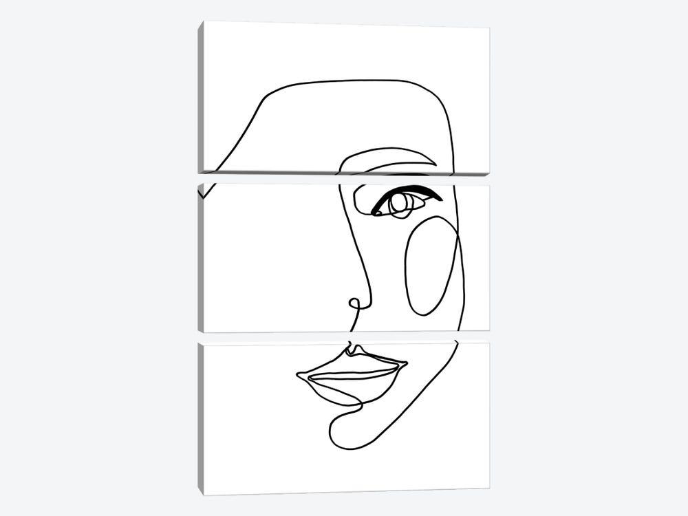 Face Line I by Design Fabrikken 3-piece Canvas Art Print