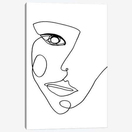 Face Line II Canvas Print #FBK257} by Design Fabrikken Art Print