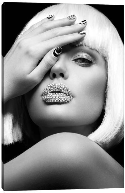 Diamond Lips BW Canvas Art Print