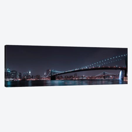 Manhattan Skyline And Brooklyn Bridge 3-Piece Canvas #FBV5} by Fabien Bravin Canvas Print