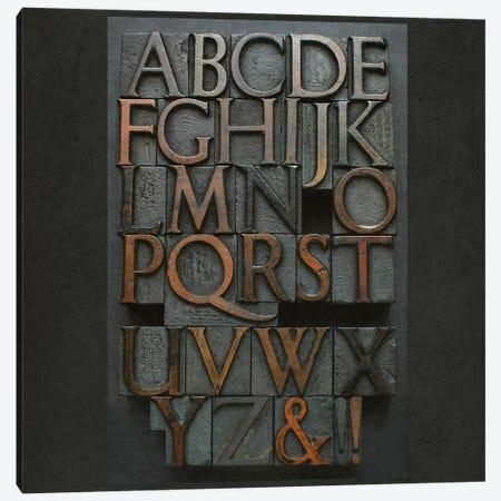 Vintage Letter Press Alphabet Canvas Print #FEN100} by Alyson Fennell Canvas Artwork