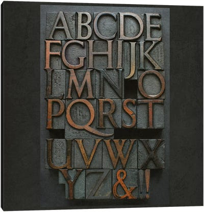 Vintage Letter Press Alphabet Canvas Art Print