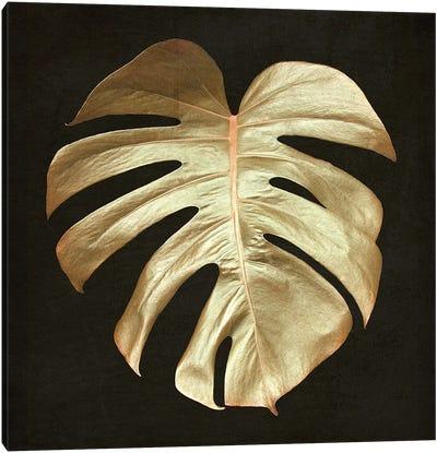 Gold Monstera Leaf Canvas Art Print
