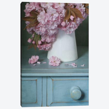 Cherry Blossom In White Jug Canvas Print #FEN145} by Alyson Fennell Canvas Print