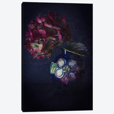 Hydrangea And Moorcroft Vase Canvas Print #FEN27} by Alyson Fennell Canvas Wall Art