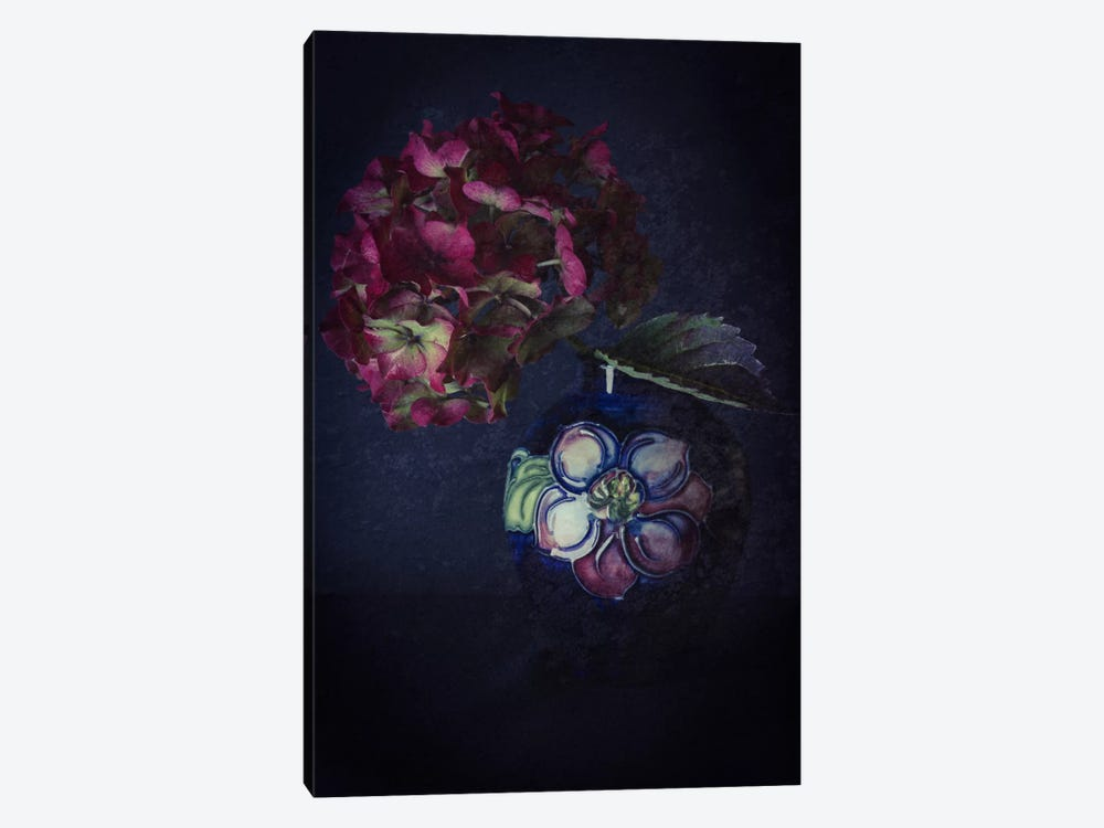 Hydrangea And Moorcroft Vase by Alyson Fennell 1-piece Canvas Art