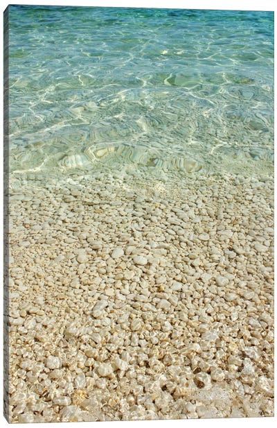 Aqua Blue Ocean And Golden Pebbles Canvas Art Print