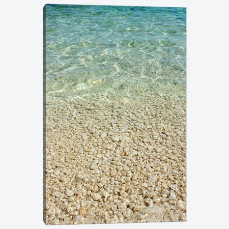 Aqua Blue Ocean And Golden Pebbles Canvas Print #FEN2} by Alyson Fennell Canvas Artwork