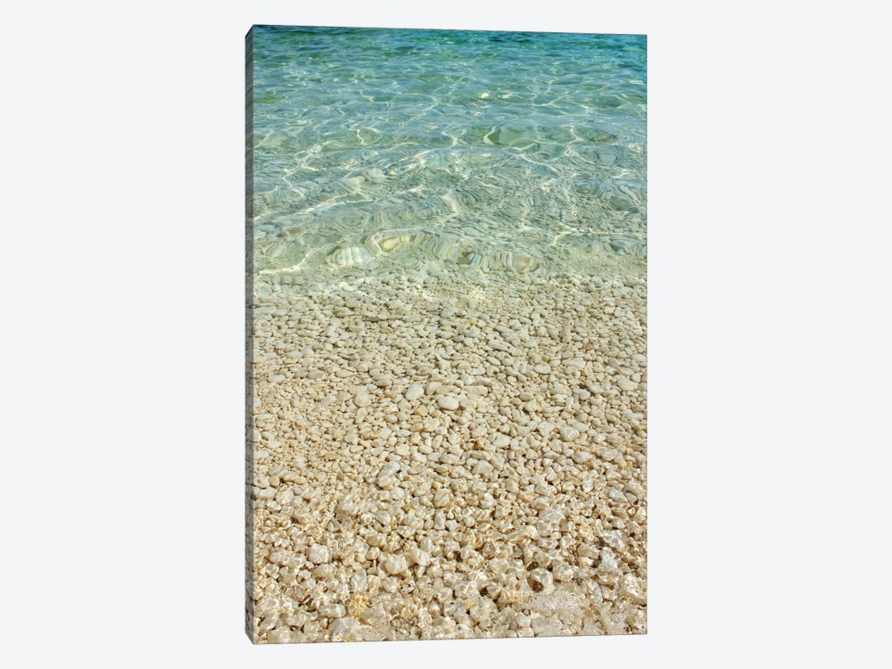 Aqua Blue Ocean And Golden Pebbles by Alyson Fennell 1-piece Canvas Print