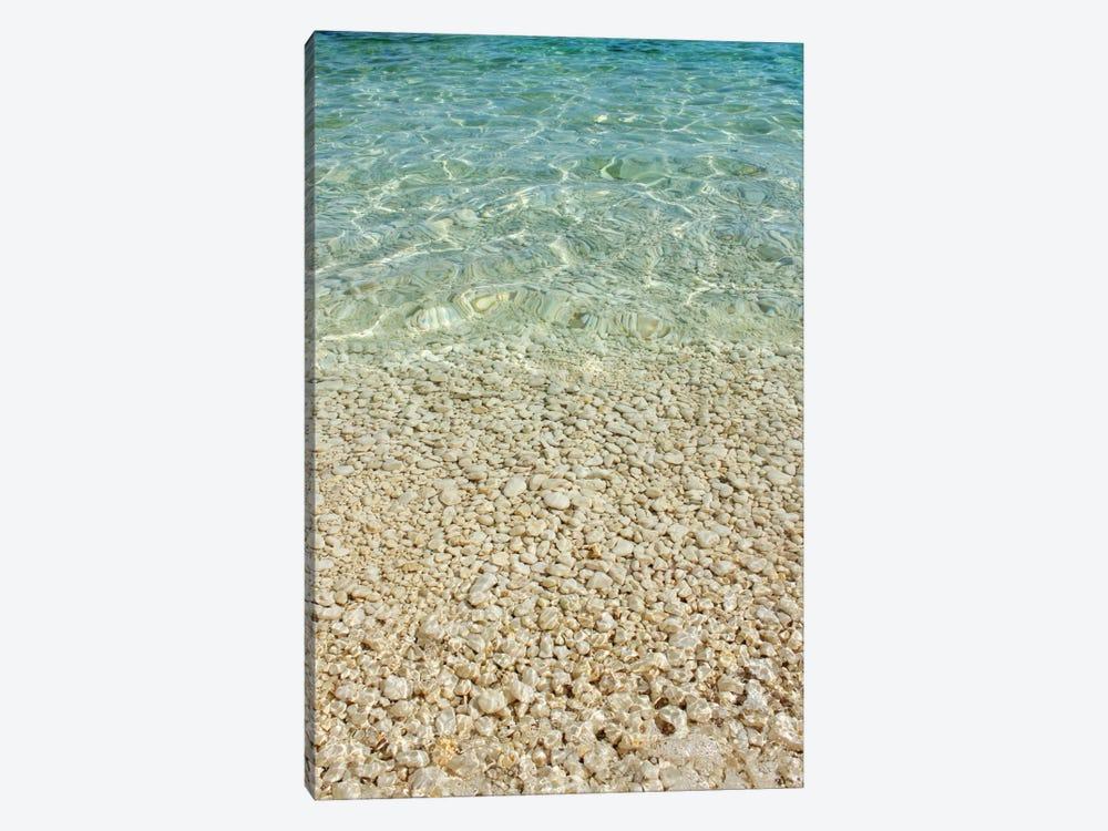 Aqua Blue Ocean And Golden Pebbles by Alyson Fennell 1-piece Canvas Print