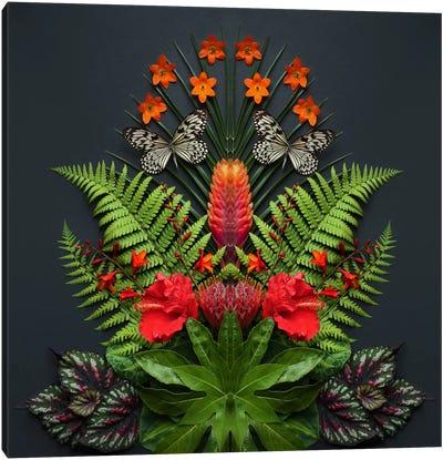 Tropical Flowers And Butterflies Canvas Art Print
