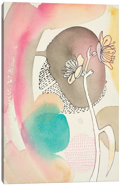 Sketched Flower With Color I Canvas Art Print