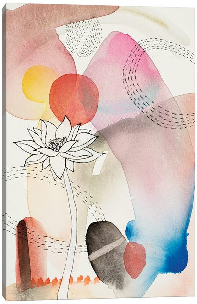 Sketched Flower With Color II Canvas Art Print