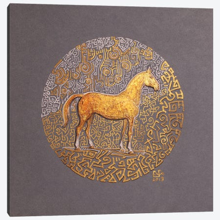 Golden Stallion Canvas Print #FFK111} by Fefa Koroleva Canvas Art Print