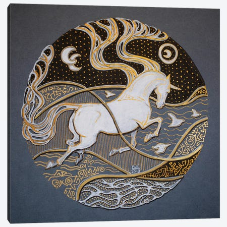 The Unicorn Canvas Print #FFK113} by Fefa Koroleva Canvas Art Print