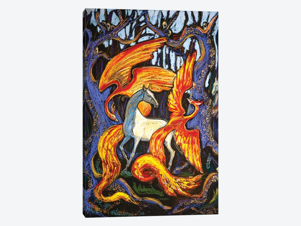 The Fire Birds by Fefa Koroleva 1-piece Canvas Art