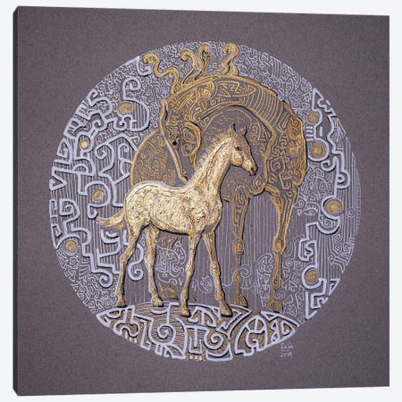 Golden Foal Canvas Print #FFK116} by Fefa Koroleva Canvas Wall Art
